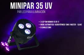EXCELENTE LUZ MINI PAR LED RGBWA CON UV PRO-DJ ILUMINACION PROFESIONAL NUEVO FACTURA LEGAL GARANTIA