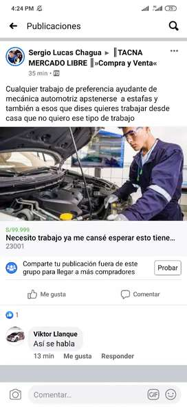 Soy mecánico automotriz y trabajo como ayudante