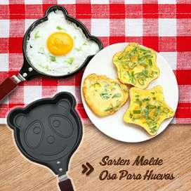 Sartén para hacer huevos y panqueques en forma de oso