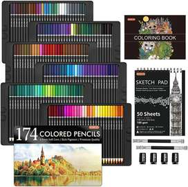 Juego de colores 174 unidades Shuttle Art con 1 libro para colorear, 1 bloc de bocetos, 4 sacapuntas, 2 extensores