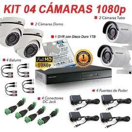 Kit de 4 camaras hikvision turbo  hd 1080p