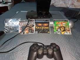 PS2 (play station 2)+2 mandos+4 juegos+ memory card