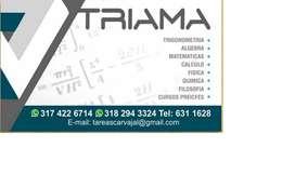 asesorias de tareas y clases particulares matematica trigonometria, calculo, fisica,  quimica, filosofia