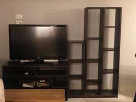 Mueble tv con 2 modulos tipo biblioteca