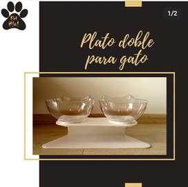 Plato doble para gato