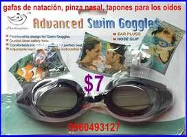 gafas de natación, pinza nasal, tapones para los oídos a $7
