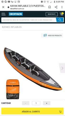 Kayak  3 puestos 950 000 pesos , con tres chalecos y 2 remos