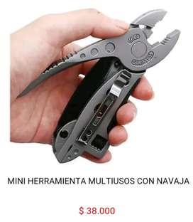 Mini herramienta multiusos multifunctional llave espansiva alicate destornillador con navaja