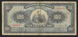 Peru Billete, 100 Soles , 1962 y 1964