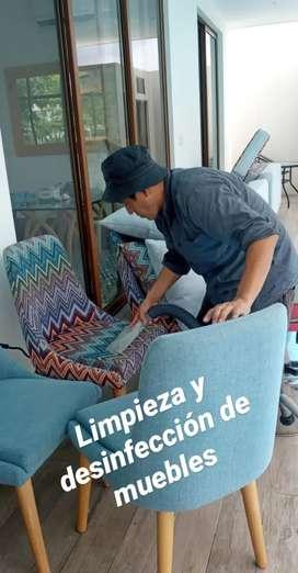 Limpieza y desinfección de alfombras, cortinas, muebles