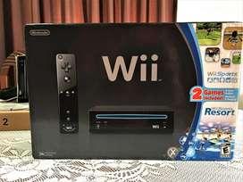 Nintendo Wii Black Negro En Caja Y 2 Juegos Como NUEVO 10/10