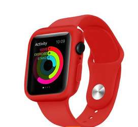 Vendo correa de silicona + protector para apple watch color rojo