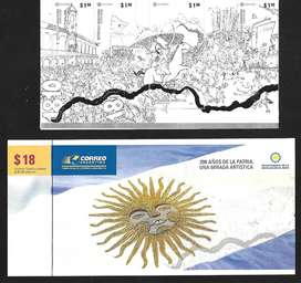 ESTAMPILLAS - BLOQUE 200 AÑOS DE LA PATRIA / COMPLETO