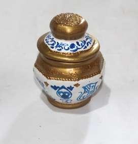 Alhajero pintado a mano, blanco azul y dorado