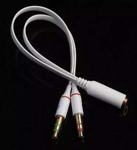 3.5mm Y Splitter 2 Jack Macho A 1 Hembra Disponibles Blanco