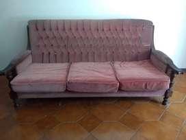 Antiguo Sillon Sofa Europeo De Madera 3 Cuerpos