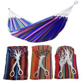 Hamaca colorida tejida en hilo con aros metalicos 3 metros de largo