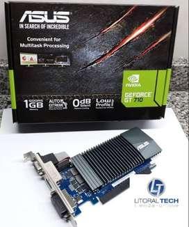 Placa de video ASUS NVIDIA. GEFORCE GT 710 PCI-E, 1 GB DDR5, HDMI. VGA