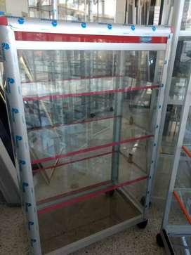 Vitrina mostrador de 60x100 en aluminio y vidrio nuevas.