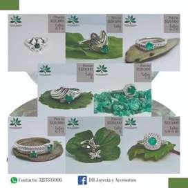 Hermosos anillos en plata ley 925 con esmeralda 100%colombiana