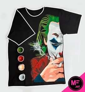 Polo negro Joker - Wason / pintado a mano