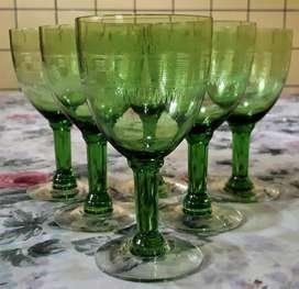 Copas De Licor Cristal Tallado Traslucido Y Verde x unidad