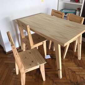 Mesa 4 sillas y hack