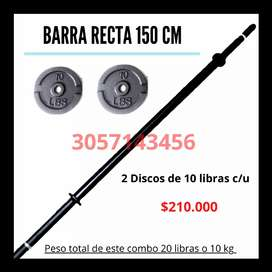 Barra Recta 150 CM Negra Pesas Varios combos