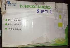 Mezclador 3 en 1 (Batidora, Licuadora, Picadora) Marca Euro Home