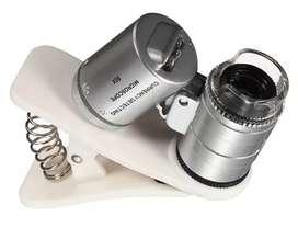 Microscopio Para Celulares Optico X60 Con Led Y Led Uv Clip