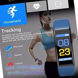 Reloj pulsera inteligente, impermeable, notificación de frecuencia cardiaca, fitness, remoto cámara en color rojo y azul