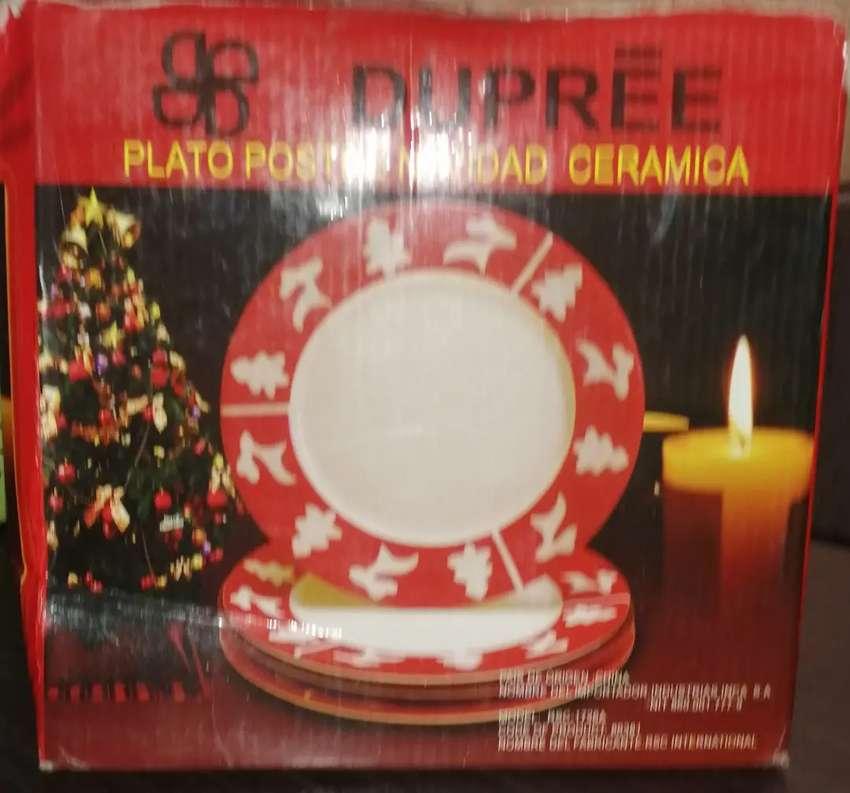 Plato Postre Navideño en Ceramica x 4 Piezas Marca Dupree