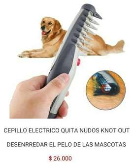 Cepillo peine eléctrico de para pelo pelaje mascotas perros y gatos quita elimina  nudos desenrredar knot out