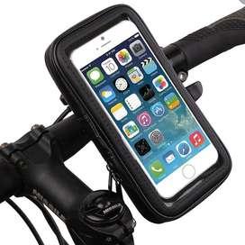 Funda Y Soporte Anti Caida Moto Bicicleta Para Celulares Impermeable A Prueba De Agua Tamaño Grande Apto Touch
