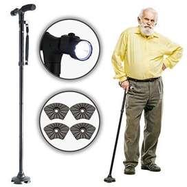 Bastón Plegable Para Ancianos Reforzado Con Linterna Led