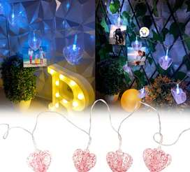 Guirnalda Luces LED pinza corazón