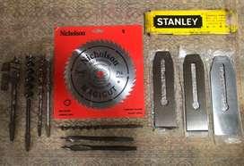 Sierra de circular,cuchillas Stanley antiguas i brocas de mecha