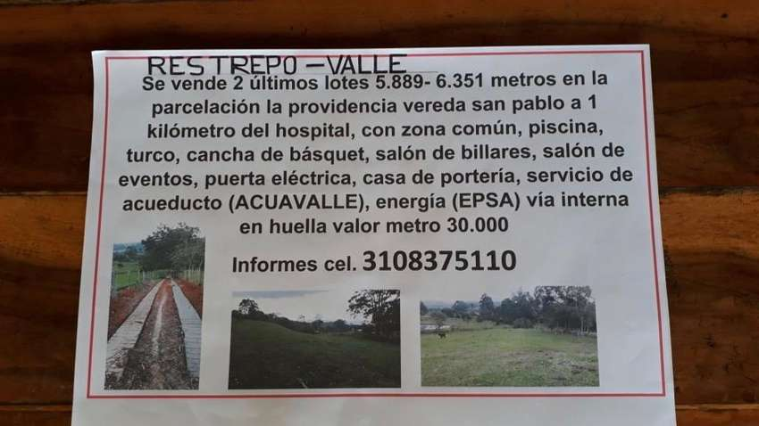 Venta de Lotes Restrepo Valle