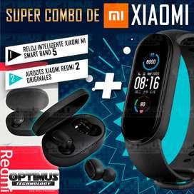 Combo Reloj inteligente Smartwatch Xiaomi Mi Band 5 + Auriculares Audifonos Inalambricos bluetooth Redimi airdots 2