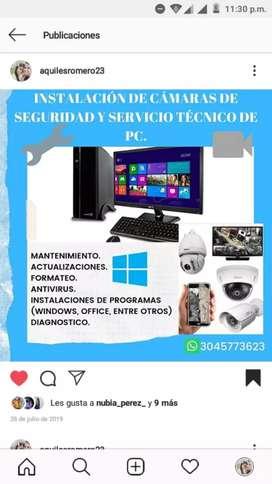 Instalación de Cámaras de seguridad y mantenimiento de computadores
