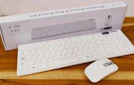 Combo Inalámbrico Teclado con Numérico + Mouse Blanco K-06