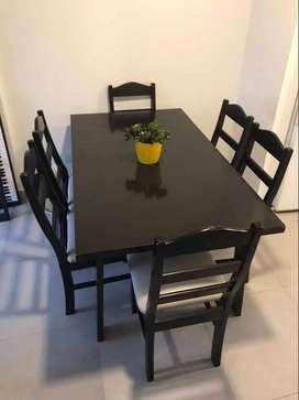 Mesa de madera nogal + 6 sillas