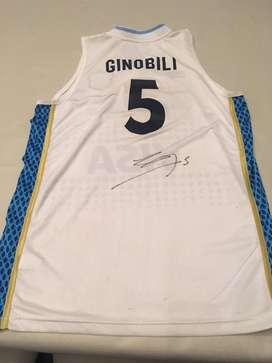 Camiseta argentina original  firmada por Ginobili