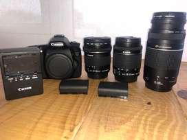 Canon 70D con 3 lentes 10-18, 18-55 y 70-300. Todo en perfectas condiciones