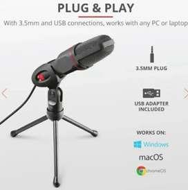Micrófono de condensador marca Trust para Conferencias, YouTube y Streaming
