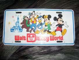 PATENTE WALT DISNEY WORLD METÁLICA RELIEVE USA MICKEY MADE IN USA