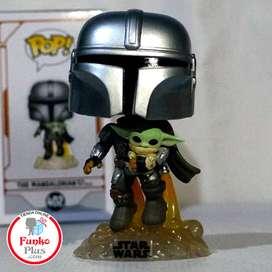 Funko Pop Mandalorian con baby Yoda