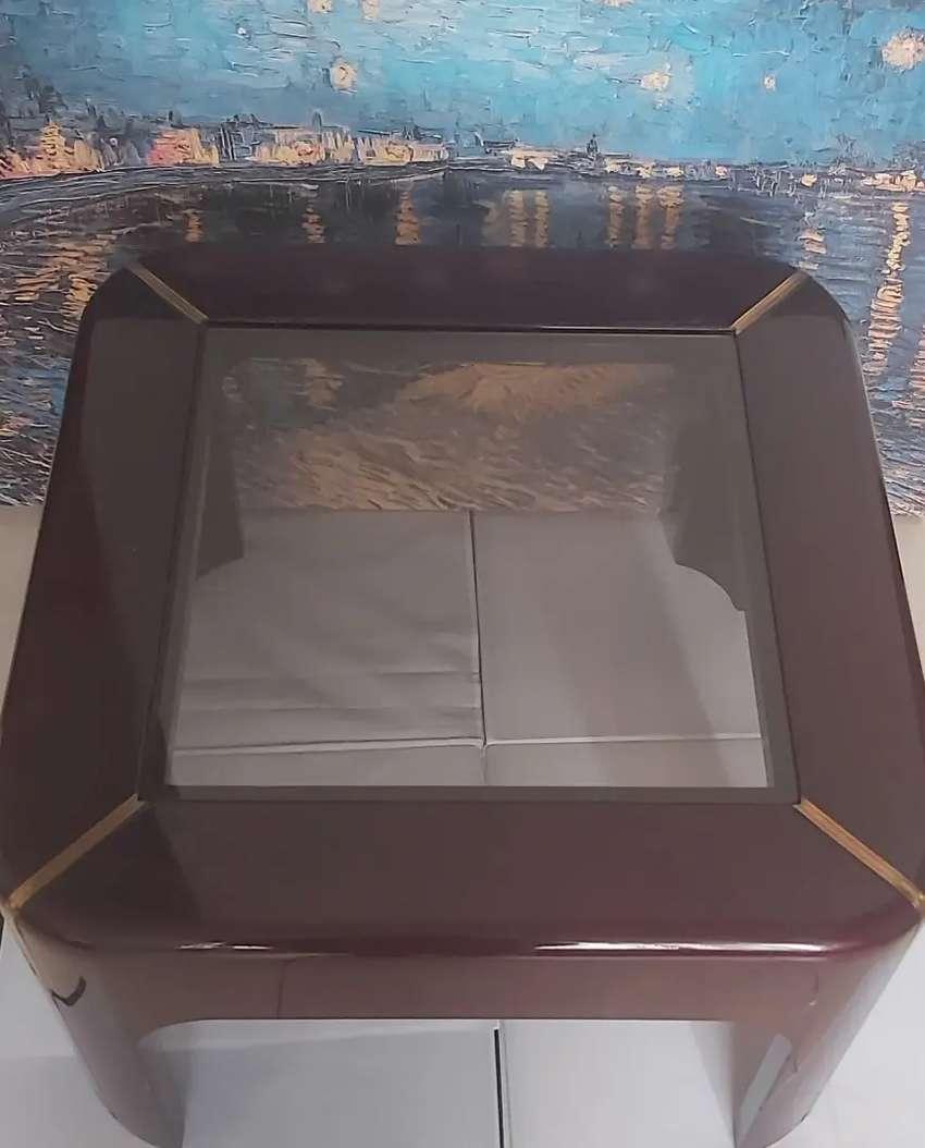 Mesa de centro madera vidrio pintura laca