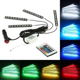 Luz Interior Coche con Control Remoto, 4 en 1 Barras Led Coche Interior, Luz de Atmosfera 7 Color RGB