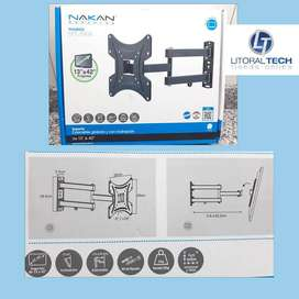 Soporte para TV LED Nakan. 13'' a 42'', 25 Kg. con brazo giratorio-extensible.
